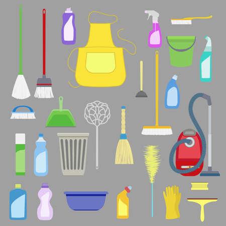 domestico: Conjunto de herramientas de limpieza de la casa. Vectores