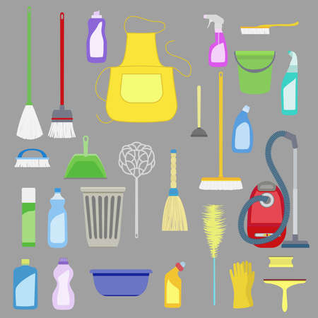 equipment: set of house cleaning tools.