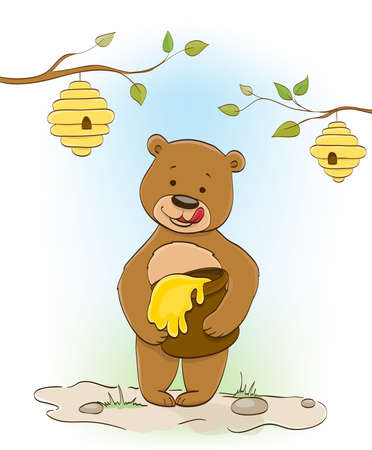 cute little cartoon bear eating honey, beehives on trees. vector illustration