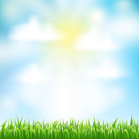 abstract background with green grass and sun and clouds for Your design template. vector Illustration