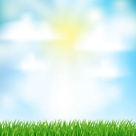 vista: abstract natural background with green grass and sun and white clouds for Your design template. vector