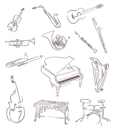 Set of classical musical instruments made in abstract hand drawn style. Vector