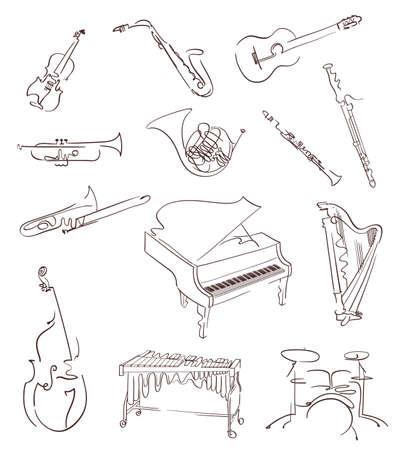 instruments de musique: Ensemble d'instruments de musique classique réalisés en style abstrait à la main. Vecteur Illustration