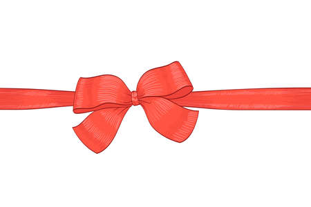 hands tied: red bow ribbon hand drawn illustration. vector