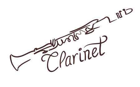 Clarinet line art drawing on white. vector illustration