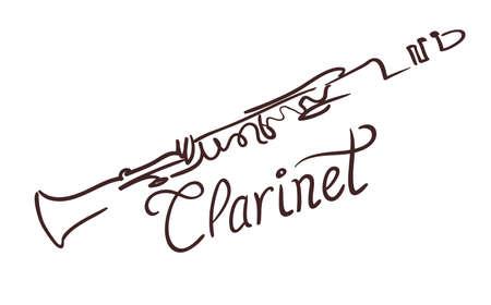 Clarinet line art drawing on white. vector illustration