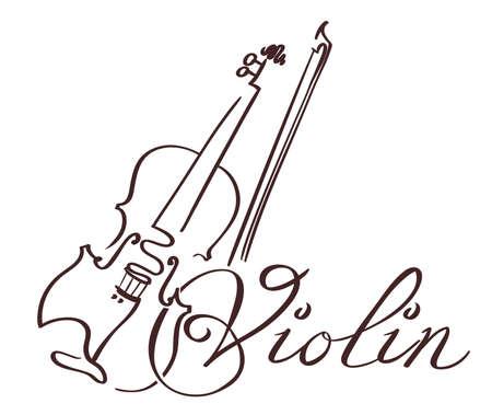바이올린 라인 아트 손으로 그린 그림. 벡터 일러스트