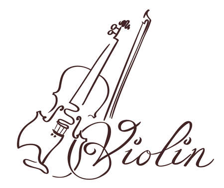 violin  line art hand drawn illustration. vector