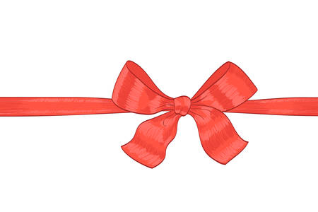red ribbon bow: hand drawn red ribbon bow on white. vector decorative design element for celebration greetings