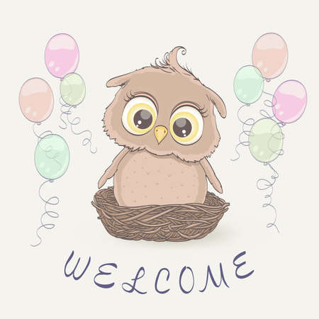 Little owl in the nest and flying balloons. Congratulation greeting on baby arrival, newborn invitation. Vector illustration