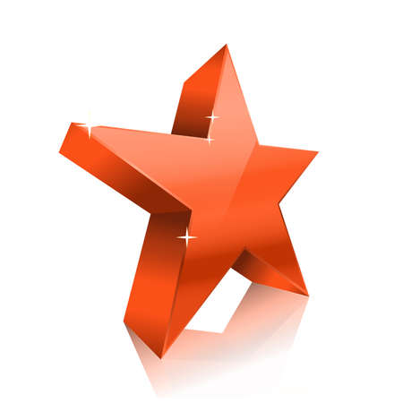 jewell: red glossy star on white. vector illustration