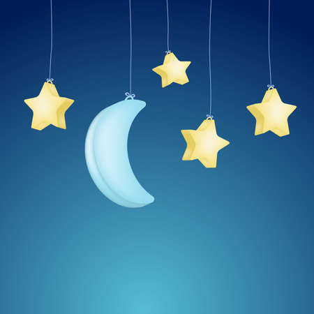 cute moon and stars hanging on night background. vector Illustration