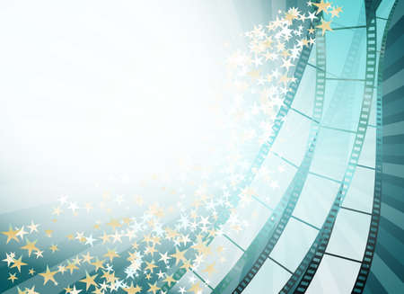abstract cinema background with retro film strip and golden stars. vector illustration