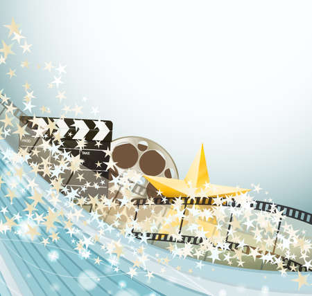 Cinema background with retro film strips, clapper and golden stars. vector illustration