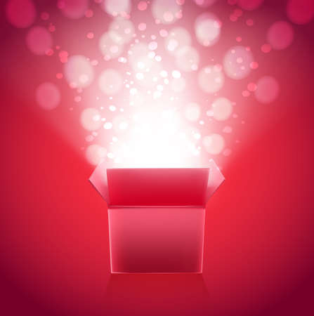 bight: Gift box with lights bokeh explosion. vector illustration Illustration