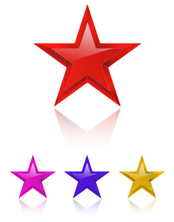 favorite colour: Red shiny star on white with color variations. vector illustration