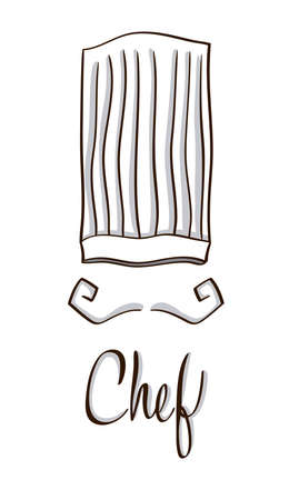 kitchener: Chef hat and moustaches symbol on white. Hand drawn line vector illustration