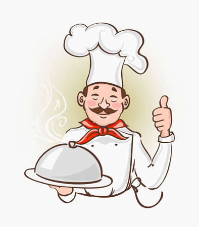 Cartoon character chef with mustaches holding a silver food plate and showing thumb up ok all right hand sign gesture. Catering service hand drawn symbol. Vector Ilustração