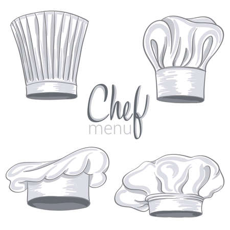 kitchener: collection of hand drawn chef hat on white. vector illustration