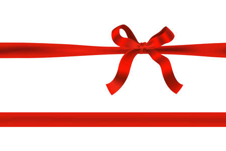 ribbon banner: Knot red bow with horizontal red ribbon isolated on white. Decorative design element for celebrations greetings, invitations. vector