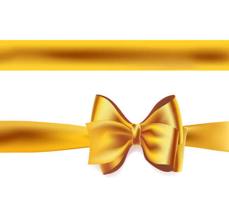 golden ribbon and big bow on white. vector decorative design element