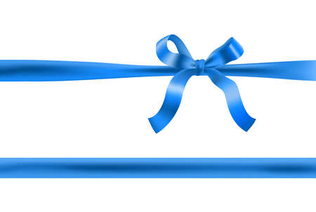 blue bow with horizontal ribbon. vector design decorative element