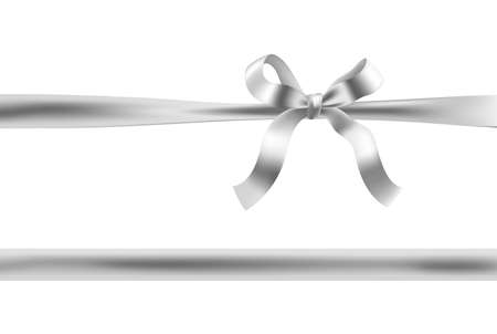silver ribbon: silver bow ribbon illustration. vector