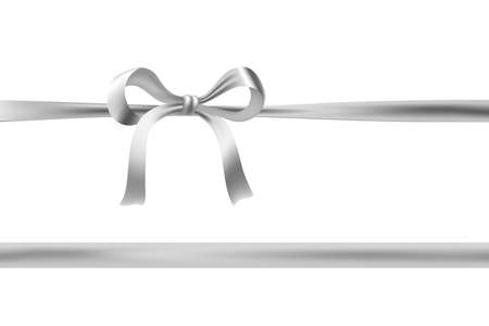 silver ribbon: silver ribbon and bow on white. vector decorative design element