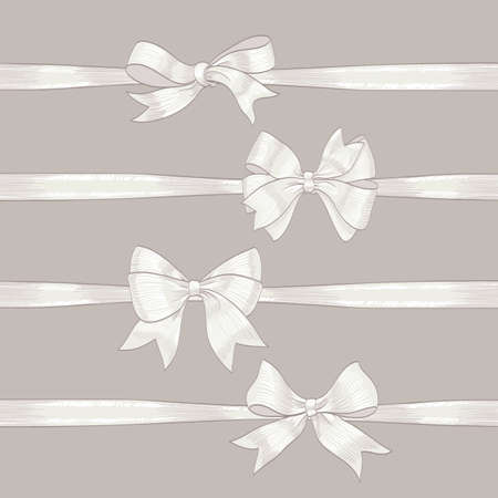 set of white bows and ribbons. hand drawn vector illustration. collection of design decorative elements for celebration greetings, invitations