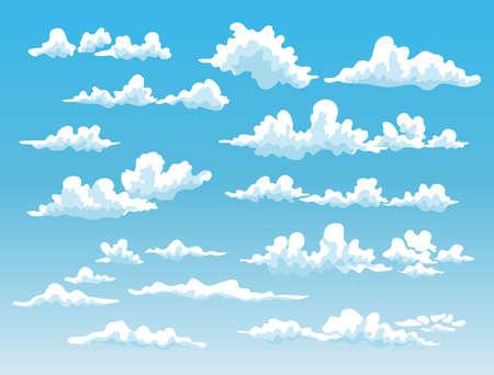 fluffy clouds: set of cartoon clouds on blue sky background. vector illustration Illustration