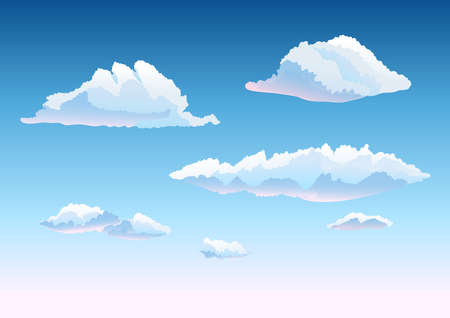 fluffy clouds: set of clouds in the sky. cartoon hand drawn vector illustration