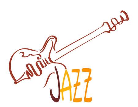 Vintage Gitarre und Jazz Musik Zeichen. Vektor-Illustration Standard-Bild - 75407667