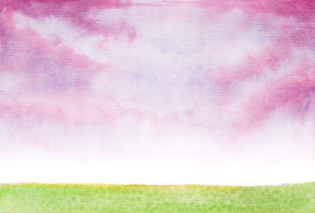 fairy: abstract pink clouds landscape watercolor fairy tale illustration