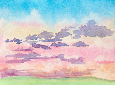 bright paintings: abstract watercolor illustration of landscape with sunrise clouds and green field