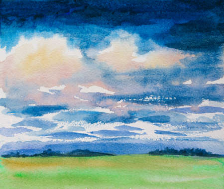 watercolor illustration of landscape with dramatic clouds and green grass field meadow