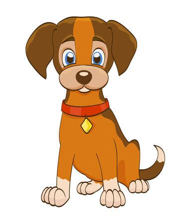 dog: Cartoon puppy dog with collar on white. vector illustration