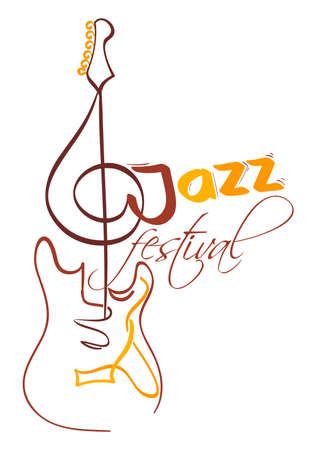 g clef: jazz festival design with electrical guitar and g clef as neck. vector illustration