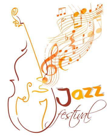 Conception de festival de jazz avec contrebasse et lignes musicales volantes, g clef et notes. vecteur Banque d'images - 77426237