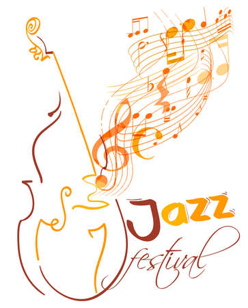 contra bass: jazz festival design with double bass and flying musical lines, g clef and notes. vector
