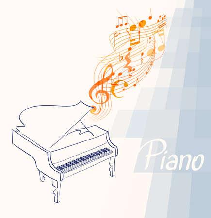 pianotekening met muzieknoten, sleutel en lijnen op abstracte achtergrond. vectorillustratie Stock Illustratie