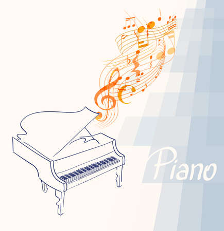 piano drawing with musical notes, clef and lines on abstract background. vector illustration