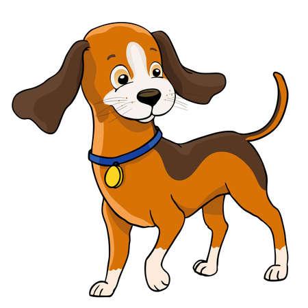 cute cartoon dog with collar on white