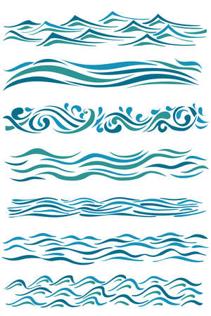 borders abstract: set of wavy borders. hand drawn abstract waves on white. vector illustration