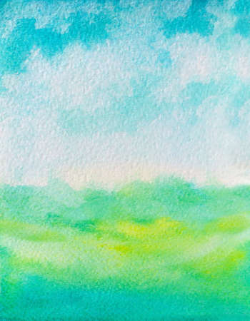 watercolor illustration sky and grass abstract background