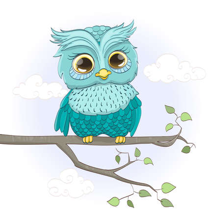 baby sitting: cartoon baby owl sitting on a branch. vector illustration