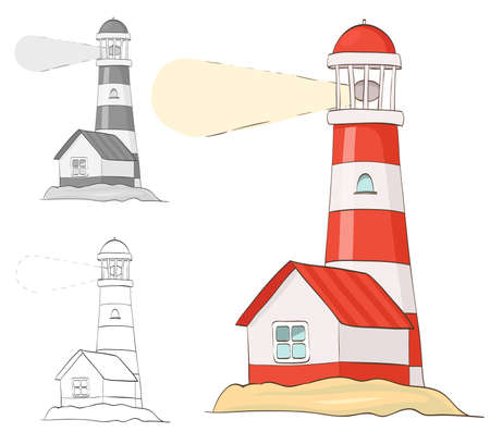 Lighthouse. cartoon vector illustration. grayscale and coloring versions included Illustration