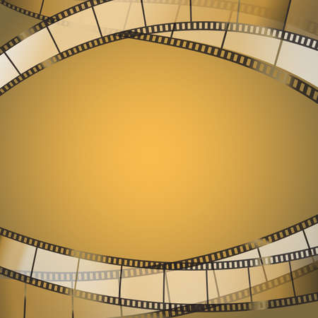 cinema film: abstract yellowish cinema background with film strips. vector illustration