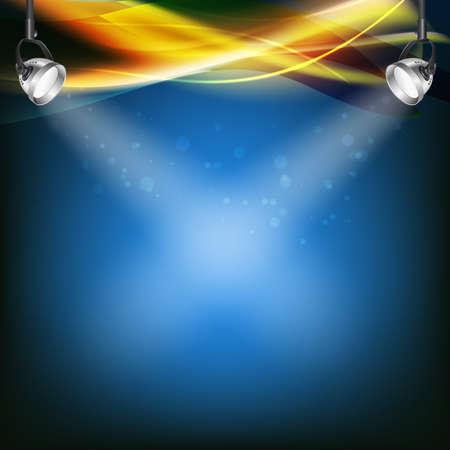 retro blue background with spot lights, transparent color lines. vector illustration Illustration