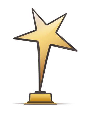 celebrities: golden with black star award. vector illustration