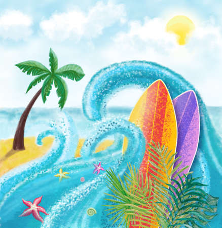 summer beach background landscape with surfing board, palm leaves, starfishes, sun with clouds